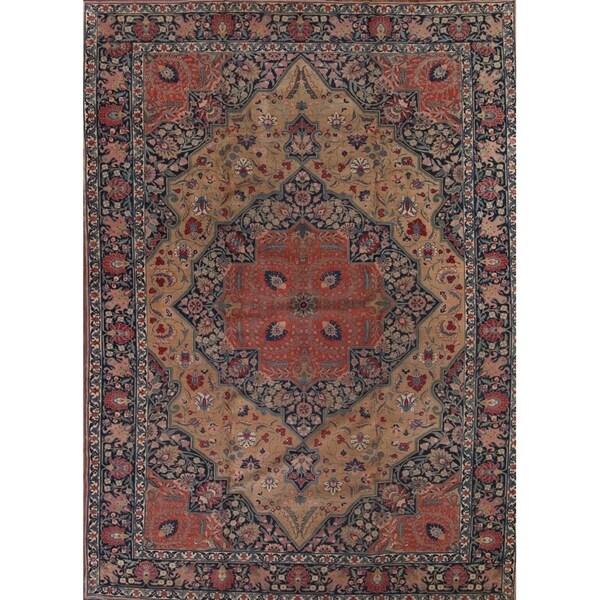 "Vintage Tabriz Hand Made Wool Traditional Persian Geometric Area Rug - 16'2"" x 11'6"""