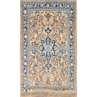 """Vintage Hand Knotted Traditional Sarouk Persian Floral Area Rug - 7'1"""" x 4'1"""""""