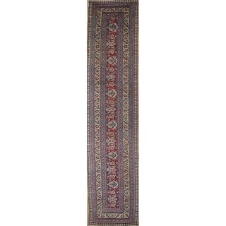 """Antique Hand Made Wool Traditional Dorokhsh Persian Floral Rug - 19'0"""" x 4'3"""" runner"""