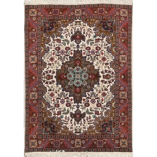 "Hand Made Wool Tabriz Traditional Persian Geometric Area Rug - 4'8"" x 3'4"""