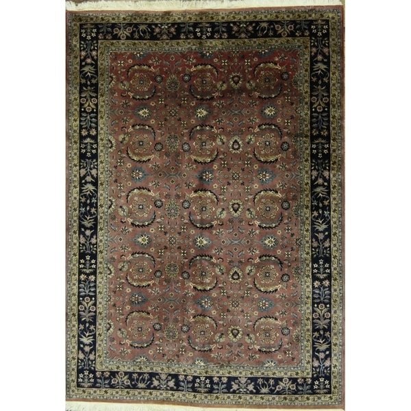 """Sarouk Oriental Floral Traditional Hand Knotted Area Rug - 8'10"""" x 6'3"""""""