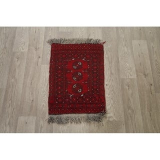 "Balouch Afghan Oriental Geometric Hand Knotted Wool Area Rug - 2'2"" x 1'7"" square"