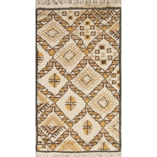 """Hand Knotted Geometric Tribal Moroccan Oriental Area Rug - 5'1"""" x 3'0"""""""