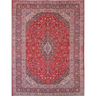 "Traditional Handmade Wool Kashan Persian Medallion Area Rug - 12'9"" x 9'8"""