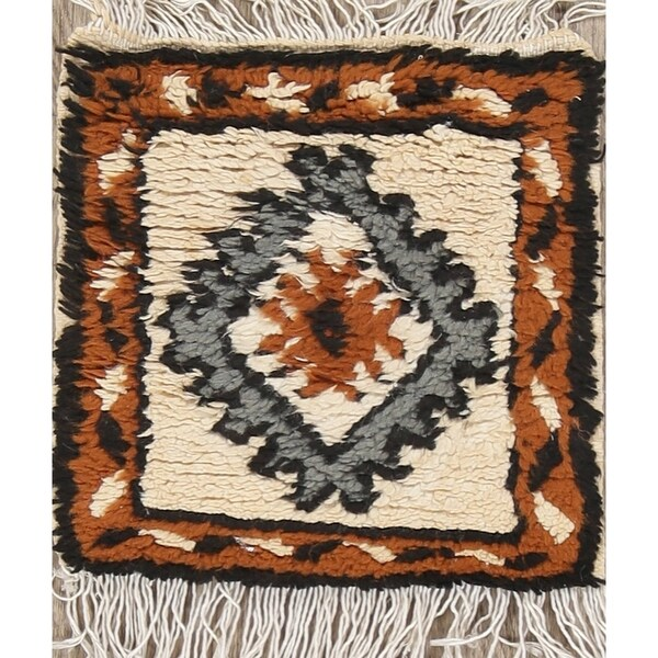 """Moroccan Hand Made Geometric Hand Made Oriental Area Rug - 1'0"""" x 1'0"""" square"""
