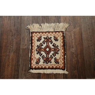 """Geometric Tribal Moroccan Hand Knotted Wool Oriental Area Rug - 1'3"""" x 1'1"""" square"""
