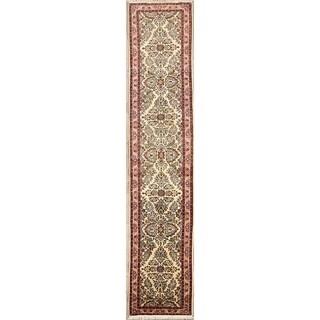 "Floral Ivory Hand Made Wool Lilian Hamedan Persian Oriental Rug - 13'0"" x 2'8"" runner"