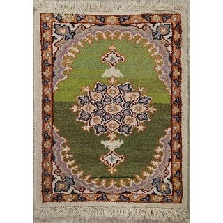 "Mashad Persian Hand Knotted Wool Traditional Medallion Area Rug - 1'11"" x 1'4"""