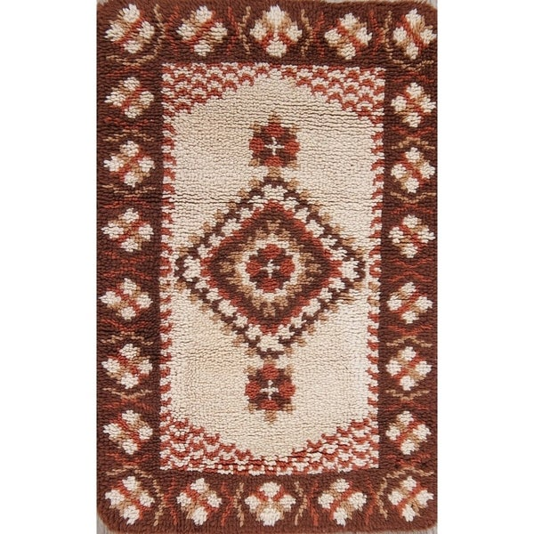 "Hand Knotted Geometric Rya Sweden Oriental Wool Rug - 3'4"" x 2'2"""