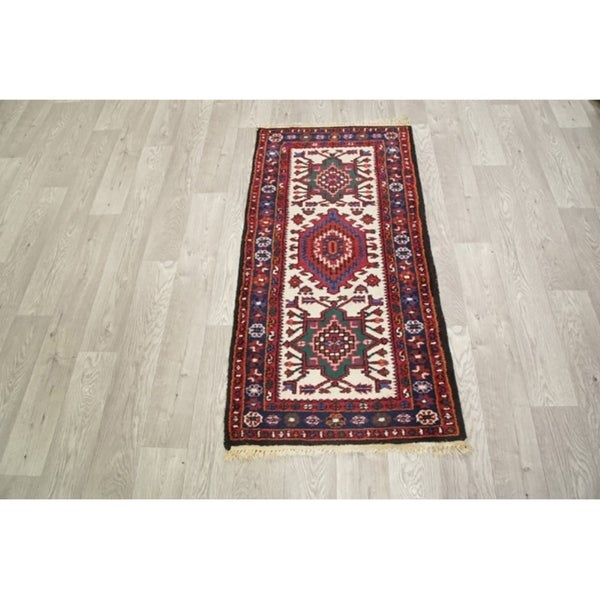 "Classcial Heriz Traditional Indian Hand Made Geometric Area Rug Beige - 4'5"" x 2'3"""