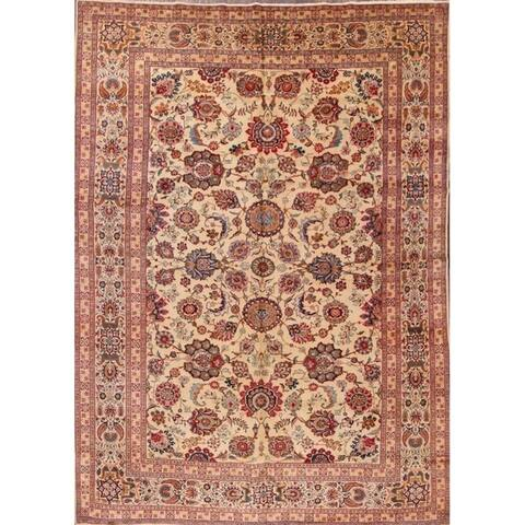 "Antique Kashan Handmade Shah Abbasi Persian Oriental Floral Area Rug - 12'2"" x 8'8"""