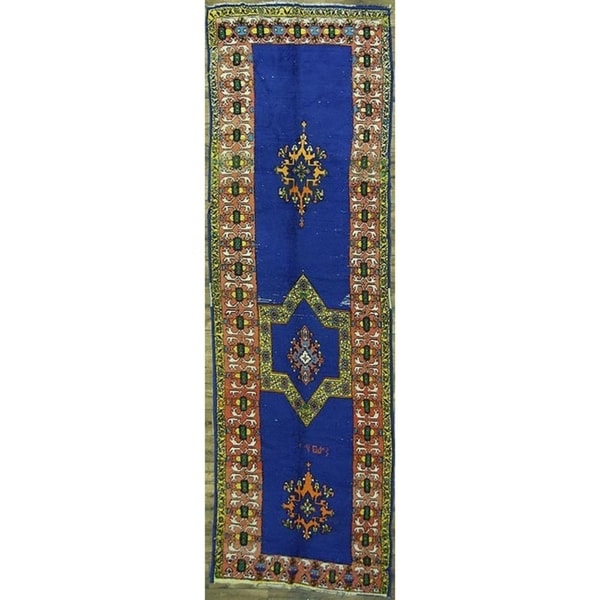 """Moroccan Classical Oriental Antique Area Rug Hand Made Tribal Blue - 15'0"""" x 4'7"""" runner"""
