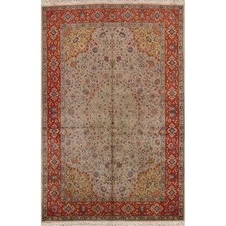 """Hand Knotted Wool Floral Tabriz Persian Oriental Area Rug - 9'9"""" x 6'6"""""""