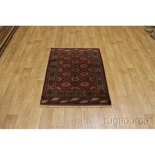 "Hand Made Wool Traditional Geometric Turkoman Persian Area Rug - 5'0"" x 3'7"""