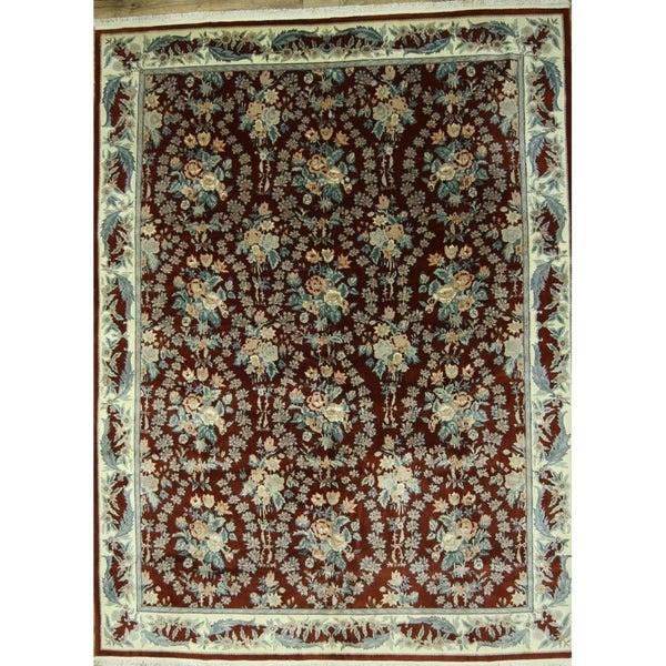 "Aubusson Chinese Oriental Area Rug Handmade Wool - 12'1"" x 9'1"""