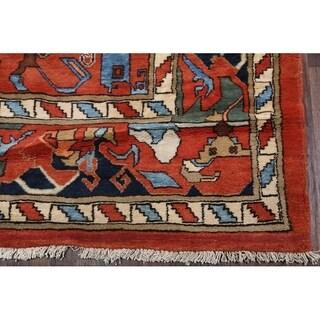 "Heriz Hand Made Wool Traditional Persian Geometric Area Rug - 19'2"" x 6'11"""