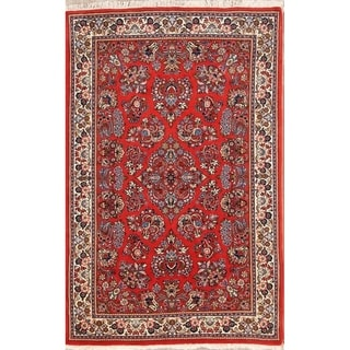 """Traditional Hand Knotted Wool Sarouk Persian Oriental Floral Area Rug - 6'9"""" x 4'3"""""""