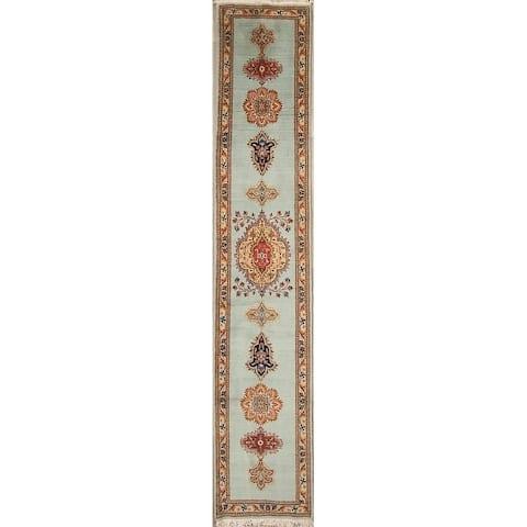 "Hand Knotted Woolen Tabriz Geometric Persian Medallion Rug - 12'9"" x 2'6"" runner"