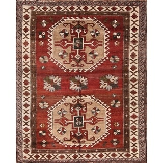 "Kazak Caucasian Antique Russian Hand Knotted Wool Oriental Area Rug - 5'10"" x 4'9"""