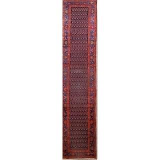 "Antique Hand Made Wool Hamedan Persian Oriental Paisley Rug - 16'9"" x 3'6"" runner"