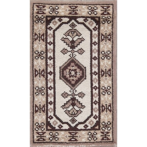 "Moroccan Traditional Hand Knottted Wool Geometric Oriental Area Rug - 3'4"" x 2'0"""