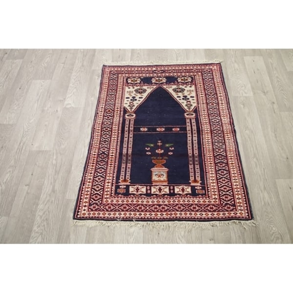 """Bokhara Pakistani Traditional Classical Hand Knotted Oriental Rug Blue - 3'9"""" x 2'11"""""""