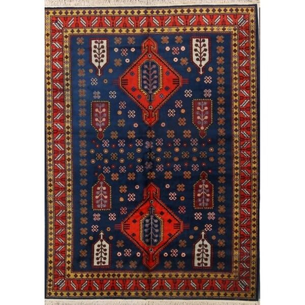 "Kazak Russian Oriental Area Rug Vintage Blue Tribal Carpet - 9'6"" x 6'9"""