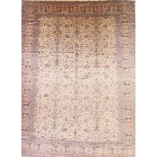 """Antique Kerman Persian Hand Knotted Wool Floral Area Rug - 16'2"""" x 11'6"""""""