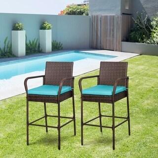 Kinbor Outdoor Wicker Bar Stools Backyard Rattan High Back Chair with Cushions (Set of 2)