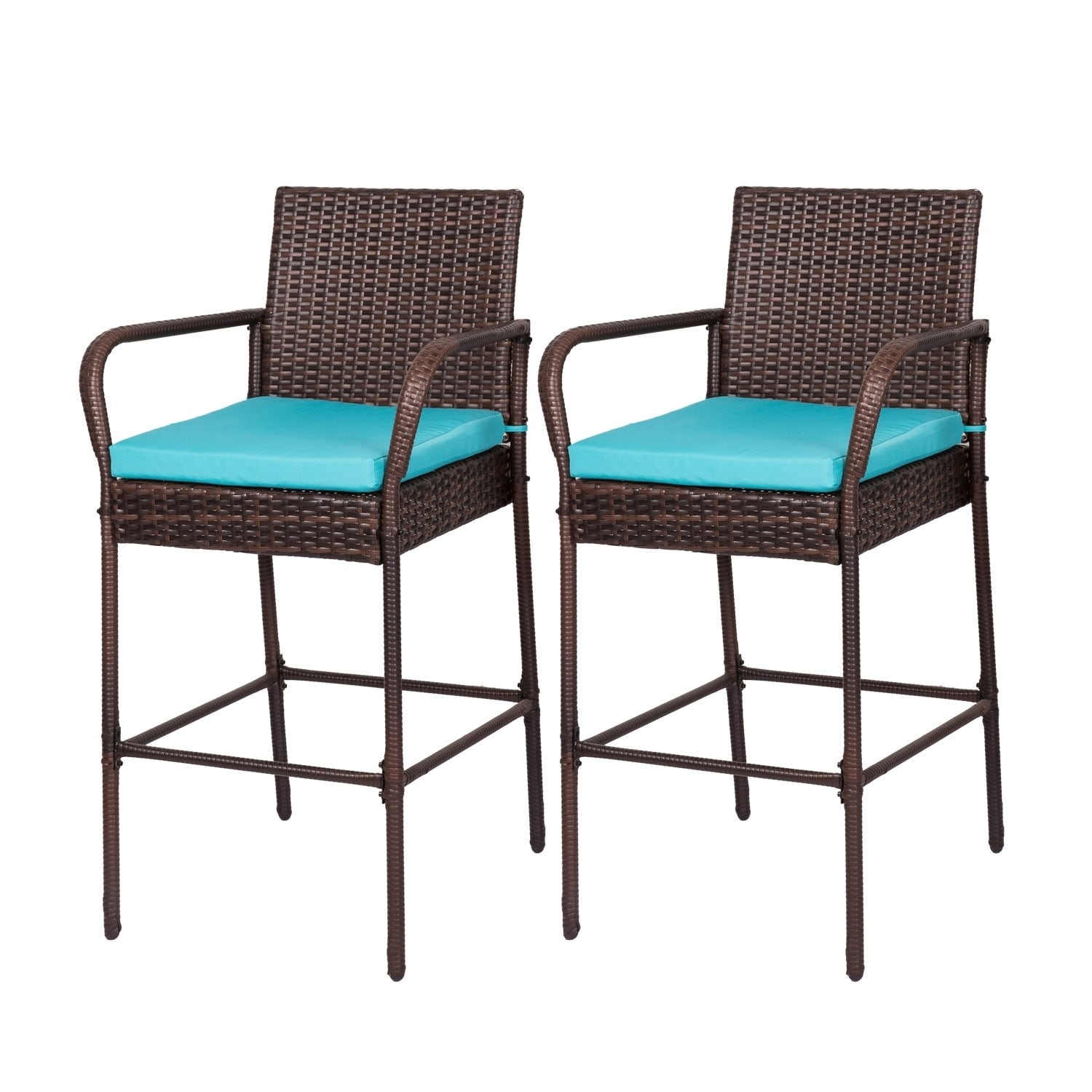 Kinbor Outdoor Wicker Bar Stools Backyard Rattan High Back Chair With Cushions Set Of 2