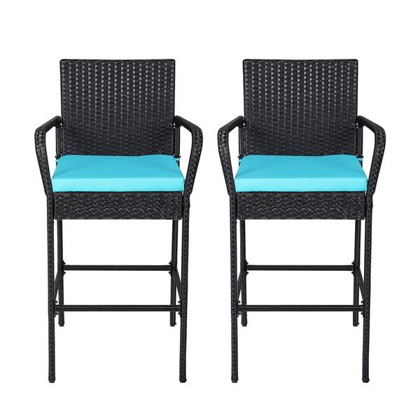 Kinbor Outdoor Wicker Bar Stools Backyard Rattan High