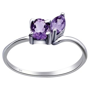 0.70 Carat Amethyst Engagement and Wedding 925 Sterling Silver Ring