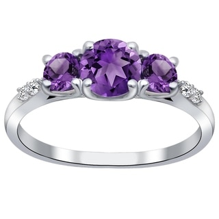 Orchid Jewelry 925 Sterling Silver Amethyst & White Topaz 3-Stone Ring - Purple
