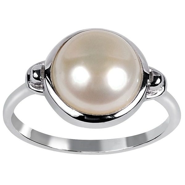 Orchid Jewelry Sterling Silver Freshwater Pearl Wedding Ring By Orchid Jewelry