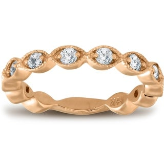 Bliss 14k Rose Gold 3/8 Ct TDW Diamond Wedding Ring Stackable Womens Anniversary Band