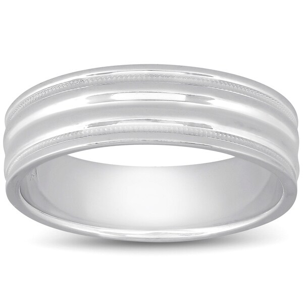 Td123886pp Platinum 6mm Double Milgrain Comfort Fit: Shop Bliss Mens Wedding Band 6mm Comfort Fit In 10k White