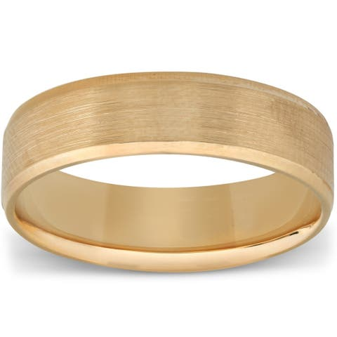 Pompeii3 Mens Wedding Brushed Band 6mm Comfort Fit in 10k White Rose Yellow Gold or Platinum