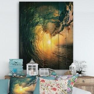 Designart 'Colored Ocean Waves Falling Down VI' Modern Seashore Print on Natural Pine Wood - Gold