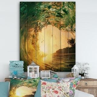 Designart 'Colored Ocean Waves Falling Down IV' Modern Seashore Print on Natural Pine Wood - Gold