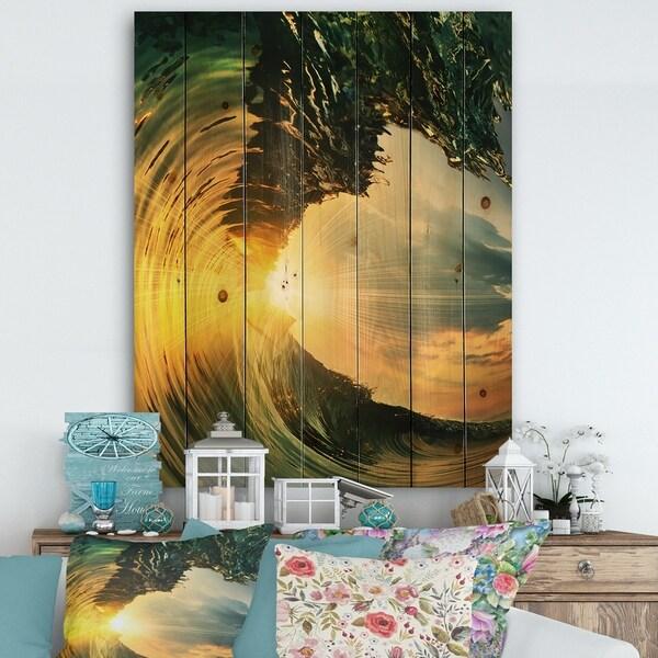 Designart 'Colored Ocean Waves Falling Down VII' Modern Seashore Print on Natural Pine Wood - Gold