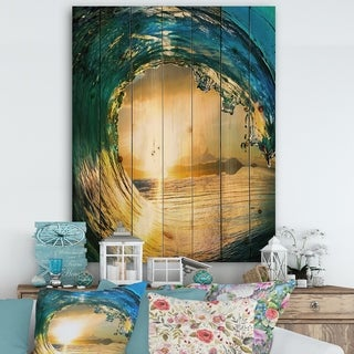 Designart 'Colored Ocean Waves Falling Down II' Modern Seashore Print on Natural Pine Wood - Gold