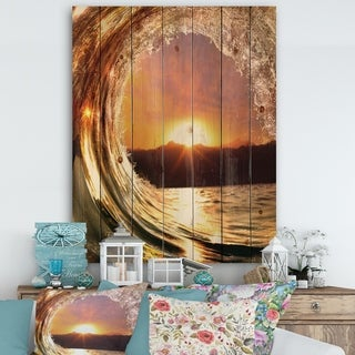 Designart 'Colored Ocean Waves Falling Down VIII' Modern Seashore Print on Natural Pine Wood - Gold