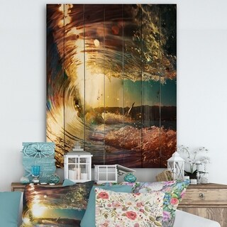 Designart 'Colored Ocean Waves Falling Down III' Modern Seashore Print on Natural Pine Wood - Gold