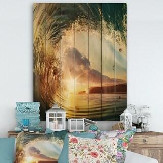 Designart 'Colored Ocean Waves Falling Down V' Modern Seashore Print on Natural Pine Wood - Gold