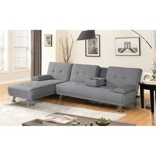 BroyerK Mixed Grey Reversible Sectional Sleeper Sofa Bed