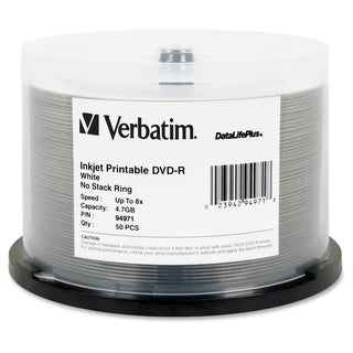 Verbatim DVD-R 4.7GB 8X DataLifePlus White Inkjet Printable - 50pk Sp