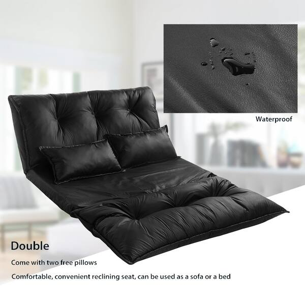Marvelous Shop Merax Pu Leather Foldable Floor Sofa With Two Pillows Andrewgaddart Wooden Chair Designs For Living Room Andrewgaddartcom