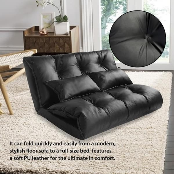 Surprising Shop Merax Pu Leather Foldable Floor Sofa With Two Pillows Andrewgaddart Wooden Chair Designs For Living Room Andrewgaddartcom