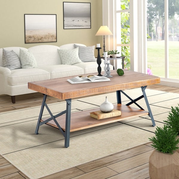 Wood Coffee Table Metal Legs: Shop Harper & Bright Designs Solid Wood Coffee Table With
