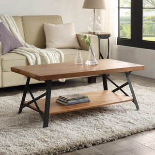 Harper & Bright Designs Solid Wood Coffee Table with Metal Legs